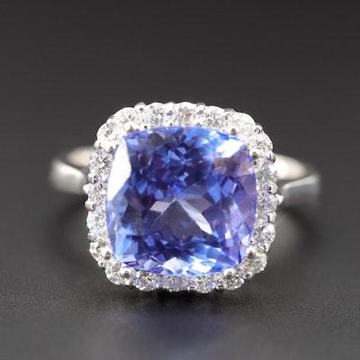 14K White Gold 6.25 CT Tanzanite and Diamond Ring