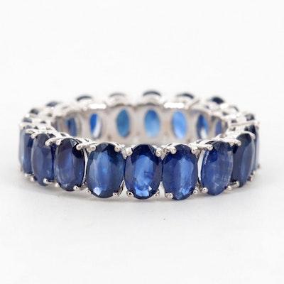 14K White Gold Blue Sapphire Eternity Ring