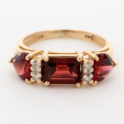 14K Yellow Gold Garnet and Diamond Band