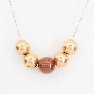 14K Yellow Gold Sliding Bead Necklace