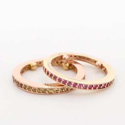 14K Yellow and Rose Gold Pink and Yellow Sapphire Eternity Bands
