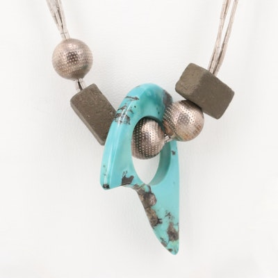 Liquid Sterling Silver and Turquoise Necklace