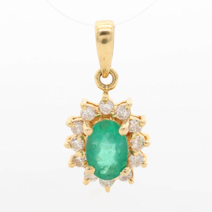 14K Yellow Gold Emerald and Diamond Halo Pendant