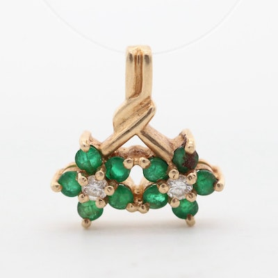 14K Yellow Gold Emerald and Diamond Floral Pendant