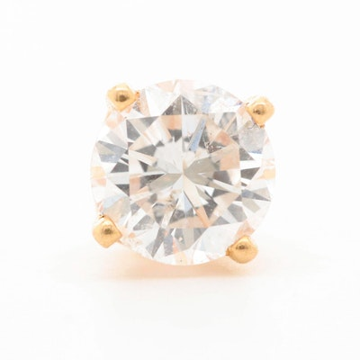 14K Yellow Gold Diamond Single Stud Earring