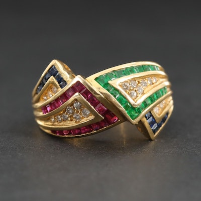 18K Yellow Gold Ring with Emerald, Ruby, Sapphire and Diamond Ring