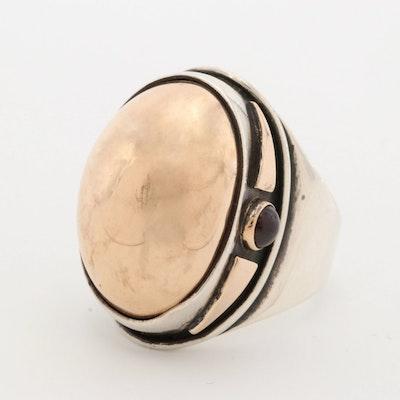 Sterling Silver Garnet Dome Ring