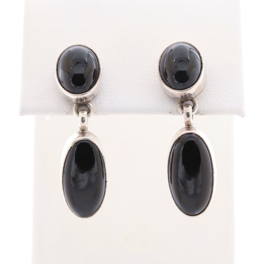 Southwestern Style Sterling Silver Black Onyx Earrings