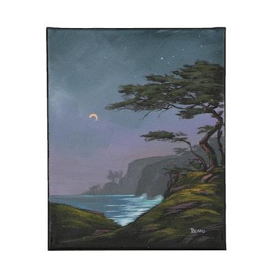 "Douglas ""Bumo"" Johnpeer Oil Painting ""Cypress Moon"""