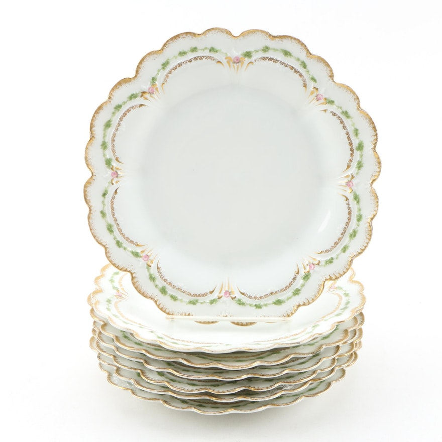 Gerard Dufraisseix & Abbot of Limoges Porcelain Dessert Plates, Early 20th C.