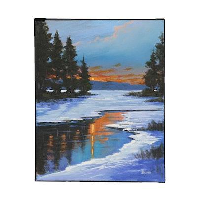 "Douglas ""Bumo"" Johnpeer Oil Painting ""River Snow"""