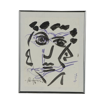 Peter Keil 1987 Abstract Mixed Media Portrait