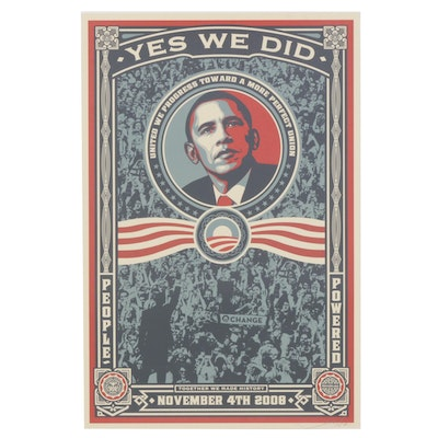 """Shepard Fairey Offset Print """"Yes We Did"""""""