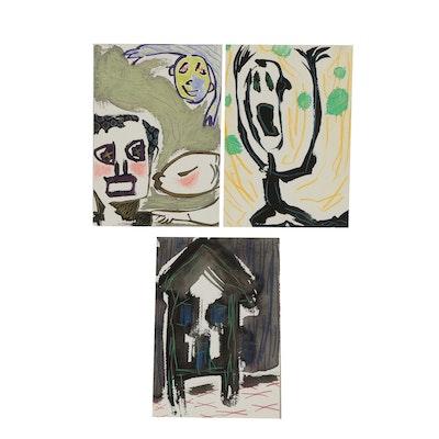 Merle Rosen 1991-1992 Ink and Pastel Paintings