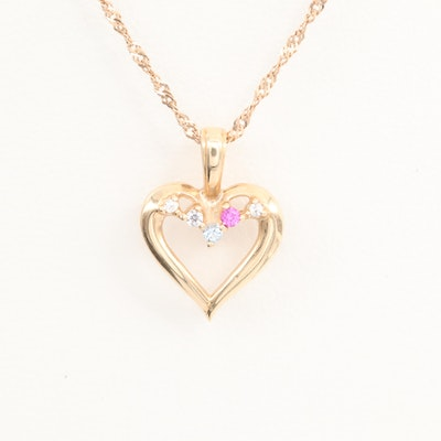 14K Yellow Gold Spinel and Ruby Heart Pendant Necklace