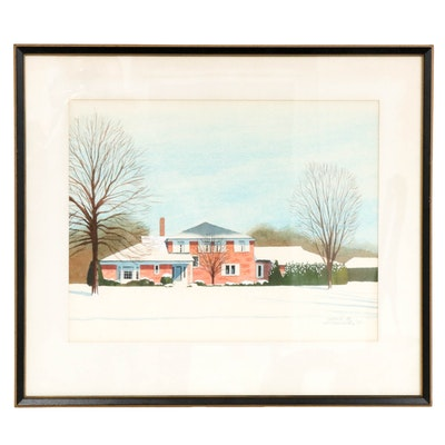 Leland S. McClelland Winter Household Scene Watercolor Painting