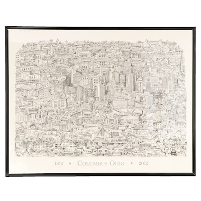"Lithograph after Bruce Loeschen ""Columbus Ohio 1812-2012"""