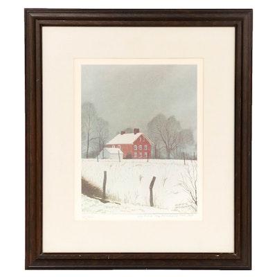 Leland S. McClelland Rural Winter Scene Offset Lithograph