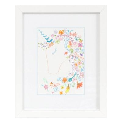 "Kara Razek Watercolor and Color Pencil Drawing ""Unicorn Dreams"""