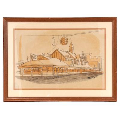 "Leland S. McClelland Lithograph ""Old Columbus Central Market"""