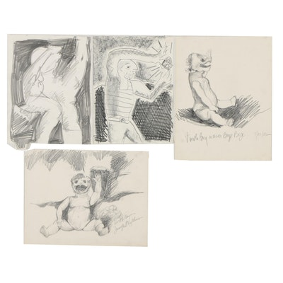 """Merle Rosen 1982-2003 Graphite Figural Drawings with """"Turtle Boy"""""""