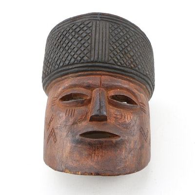 "Central African ""Pwo"" Style Hand-Carved Wooden Mask"