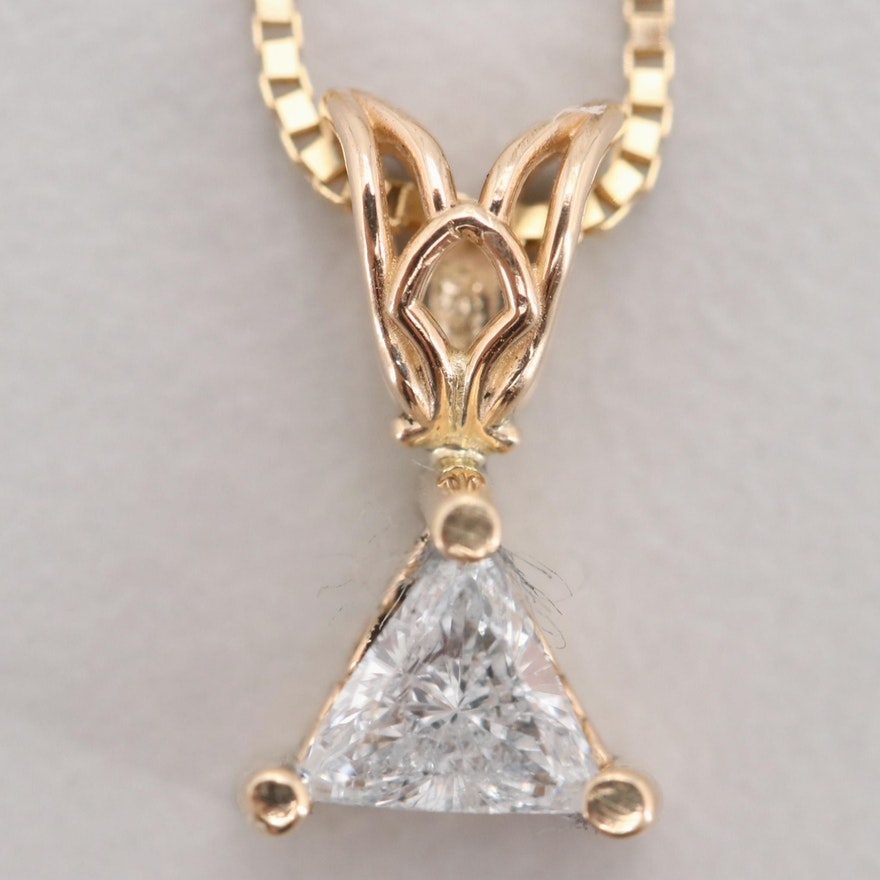 Aurafin 18K Yellow Gold Chain with 14K Yellow Gold Diamond Pendant