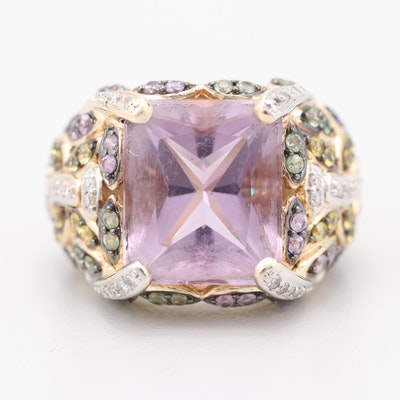 Laura Ramsey 14K Two-Tone Gold 9.02 CT Amethyst, Diamond, and Gemstone Ring