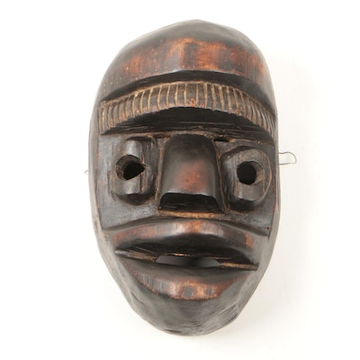 West African Hand-Carved Wooden Mask