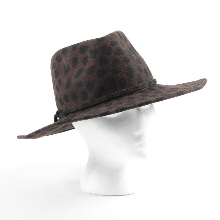 Liz Claiborne Felted Wool Animal Print Safari Hat