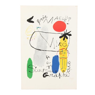 Lithographic Exhibition Poster for Galerie Maeght after Joan Miró