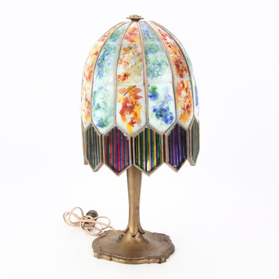 Victorian Parlor Lamp with Hand Painted Milk Glass Shade, Early 1900s