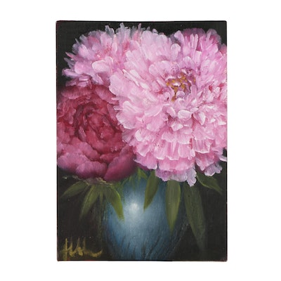 "Thuthuy Tran Oil Painting ""Peonies and Blue Jar"""