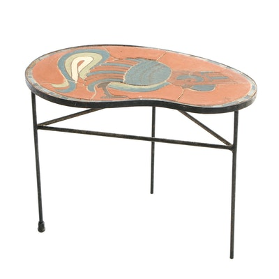 "Iron Tile-Top Side Table, Signed ""Duetz"", Second Half 20th Century"