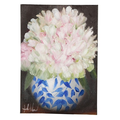 "Thuthuy Tran Oil Painting ""Peonies for August Evening"""