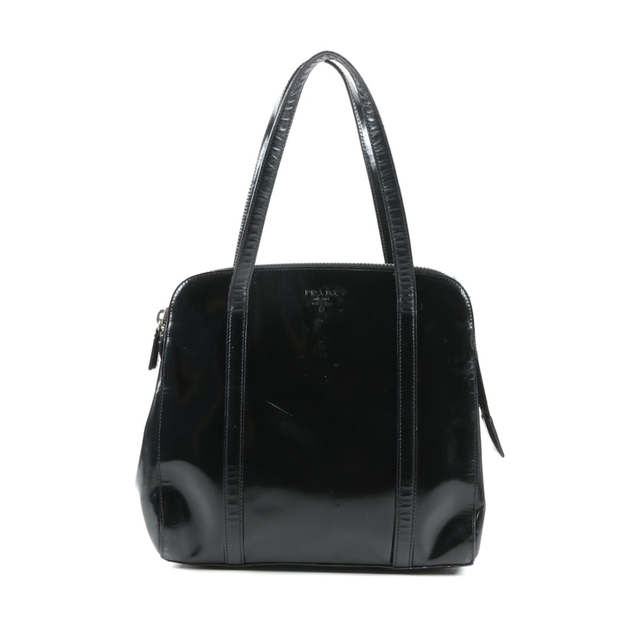 Prada Black Patent Leather Handbag, Made in Italy