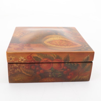 Decorative Storage Box with Floral and Fruit Motif