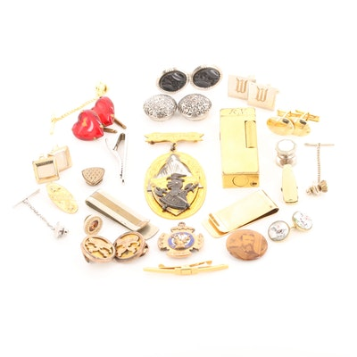 Jewelry Including Lighter, Money Clips, and Sterling Silver