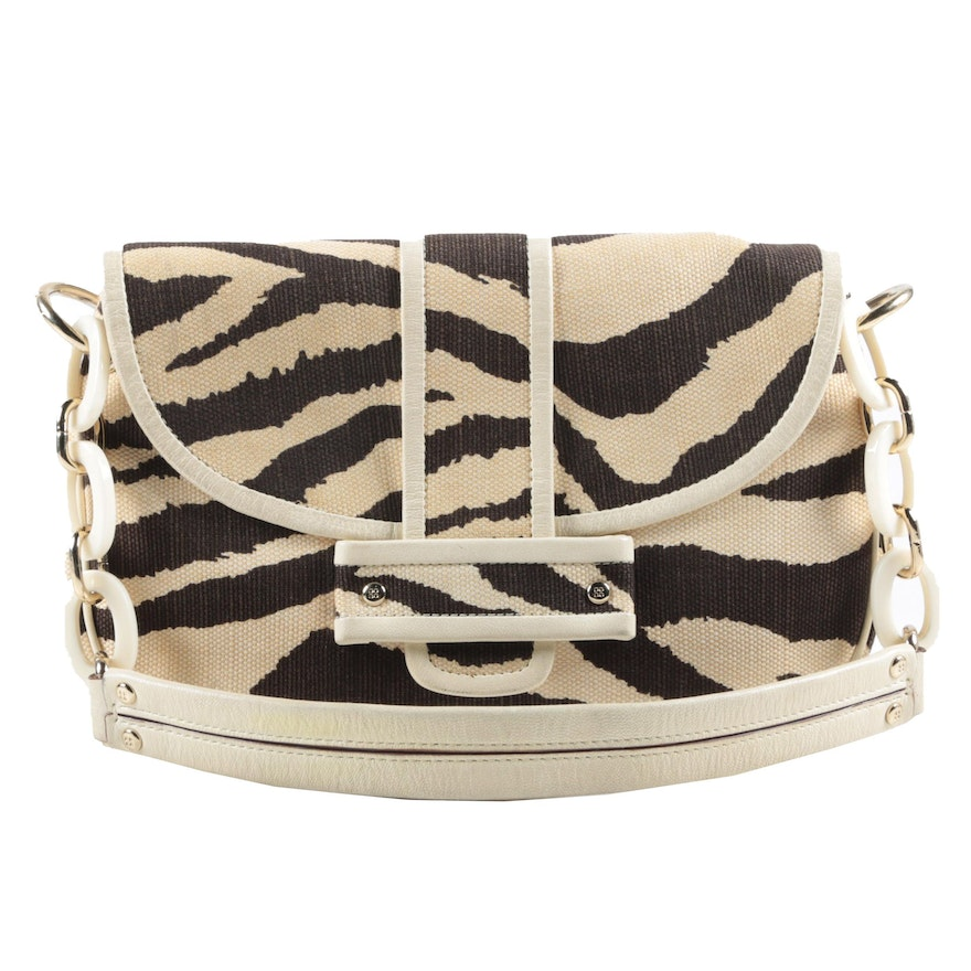 Kate Spade New York Alexa Delano Zebra Print Canvas and Leather Handbag