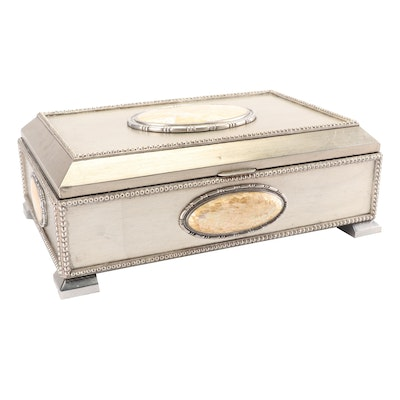 Maitland-Smith Silver Gilt Box with Mother-of-Pearl