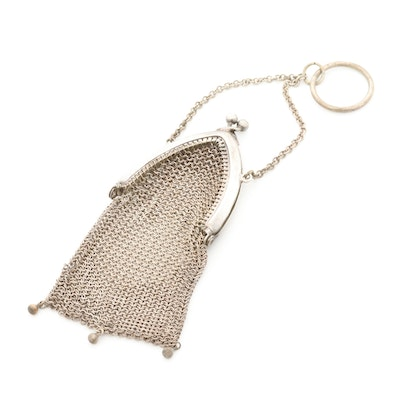 Sterling Silver Mesh Coin Chatelaine Purse with Kiss Lock, Early 20th Century