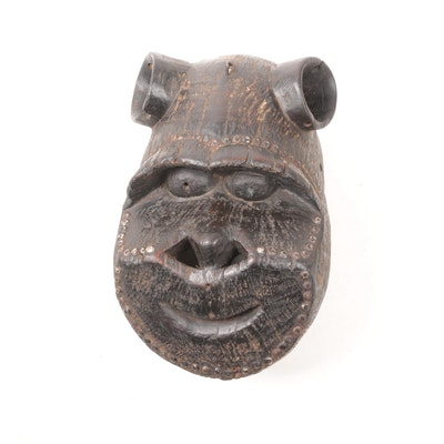 West African Hand-Carved Zoomorphic Mask