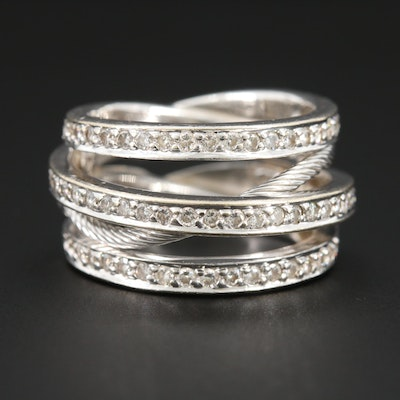 18K White Gold Triple Row 1.24 CTW Diamond Crossover Band