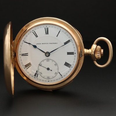 Jack Watch Factory 14K Gold Hunter Case Quarter Repeater Pocket Watch