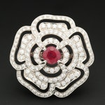 Vintage 18K White Gold 1.97 CT Ruby and 3.53 CTW Diamond Flower Ring