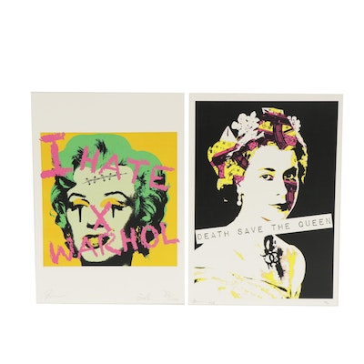 "Death NYC Graphic Prints ""Death Save the Queen"" and ""I Hate Warhol"""