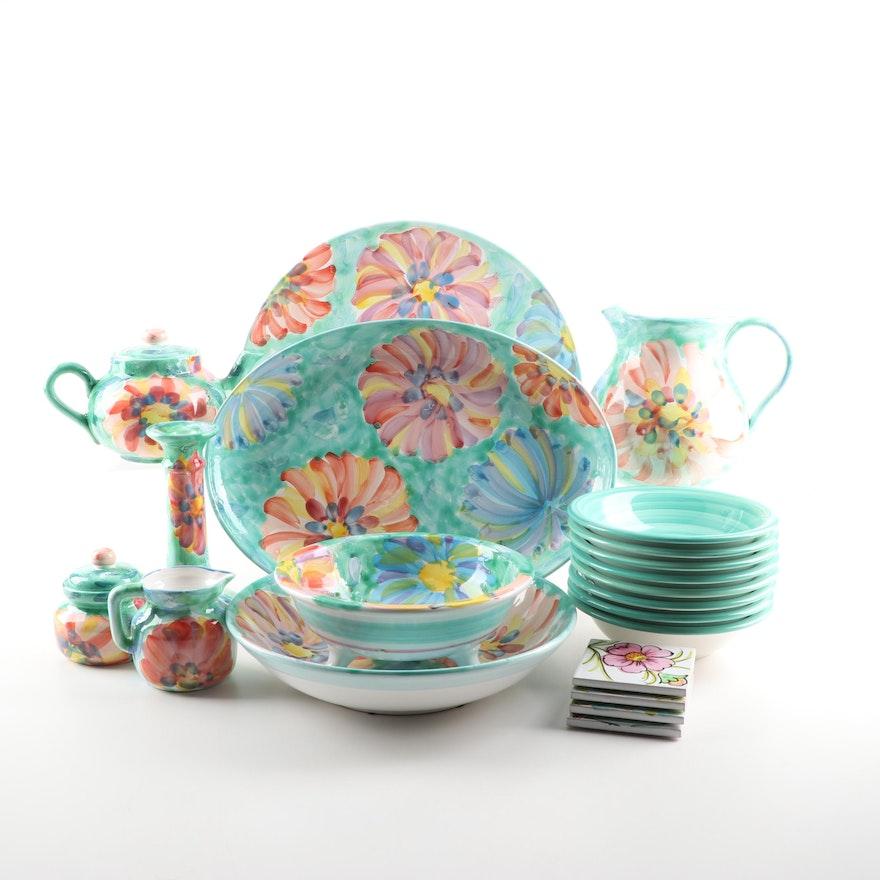 Pier 1 Imports Hand-Painted Ceramic Dinnerware and Serveware