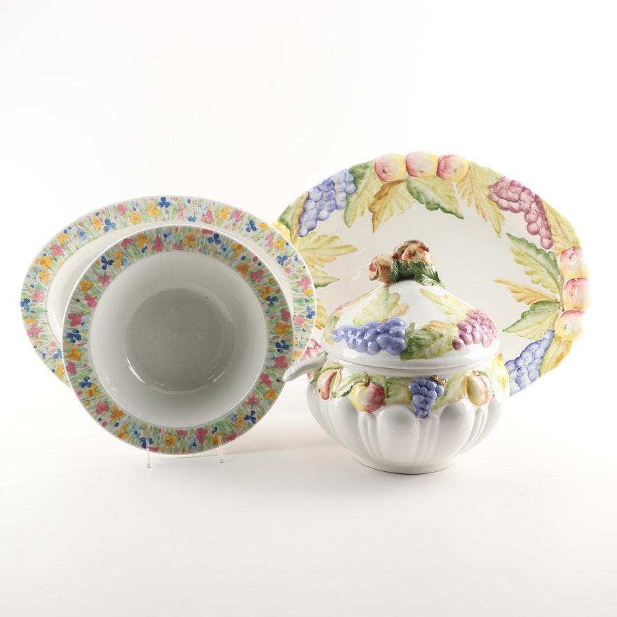 Ceramic Floral Centerpiece Bowl, Platter and Fruit Design Tureen with Platter
