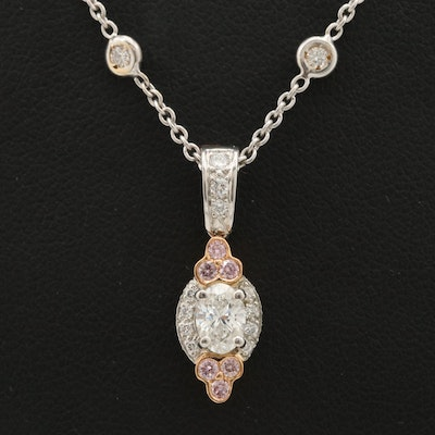 Charles Krypell Platinum and 18K Gold 1.11 CTW Diamond Necklace