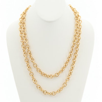 14K Yellow Gold Cable Link Necklace